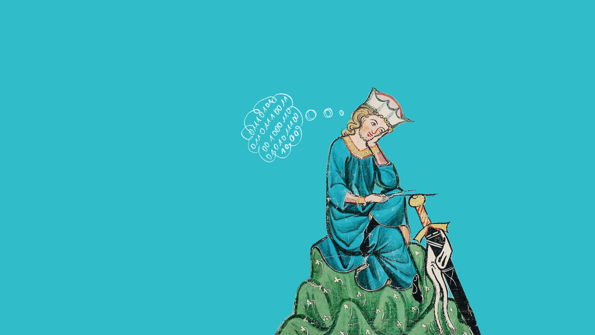 medieval illustration of Walther von der Vogelweide from the Codex Manesse manuscript, showing him contemplating his poetry; with the hand-drawn addition of a thought bubble containing binary code