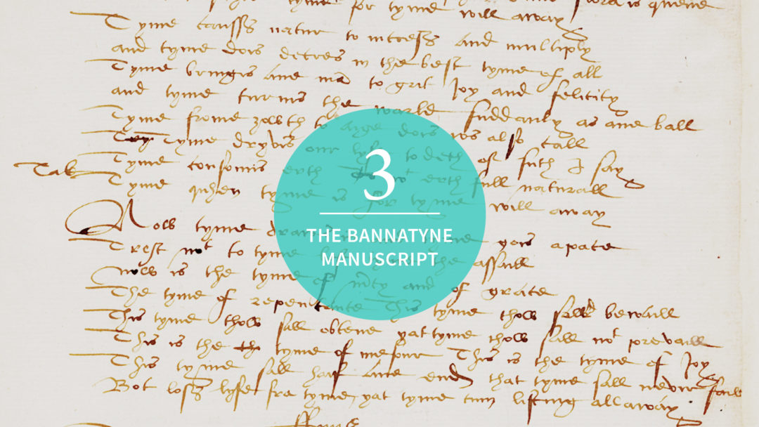 """Background image features text from the Bannatyne MS. A teal circle is centered in the image with """"3 